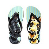 Black n Wheaten Scottie Flip Flops
