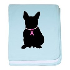 French Bulldog Breast Cancer Support baby blanket