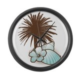 Seashells and palmtree in blue 2 Large Wall Clock
