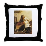 Girl and Collie Throw Pillow