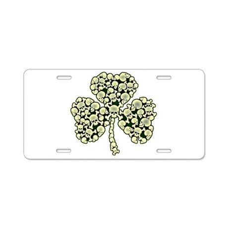 Irish Shamrock Made Of Skulls Aluminum License Pla