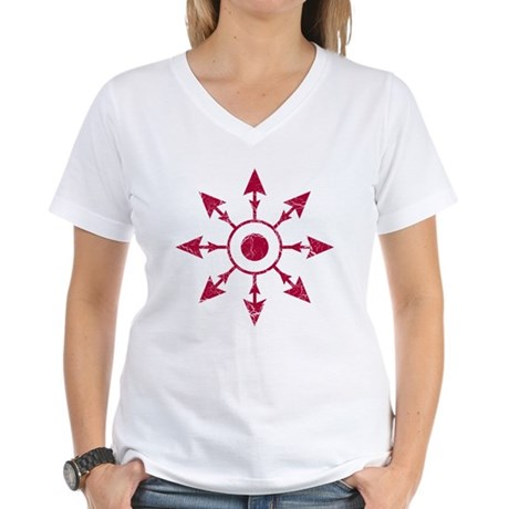 Chaos Wheel - distressed Women's V-Neck T-Shirt