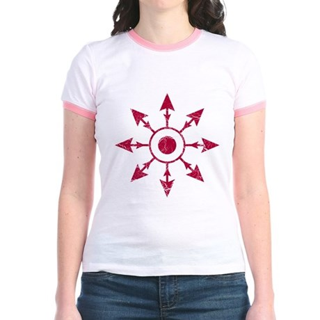 Chaos Wheel - distressed Jr. Ringer T-Shirt