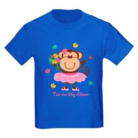 Monkey Big Sister Kids Dark T-Shirt
