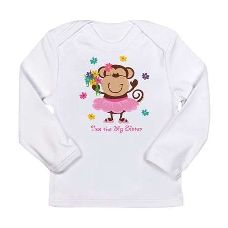 Monkey Big Sister Long Sleeve Infant T-Shirt