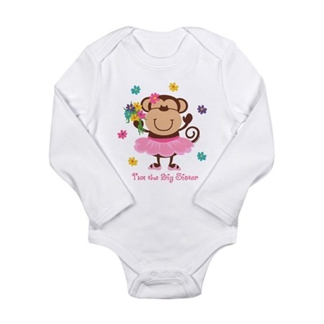 Monkey Big Sister Long Sleeve Infant Bodysuit