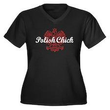 Polish Chick Women's Plus Size V-Neck Dark T-Shirt