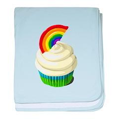 Rainbow cupcake baby blanket