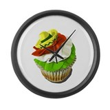 Cinco de Mayo cupcake Large Wall Clock