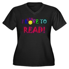 Love to Read Women's Plus Size V-Neck Dark T-Shirt
