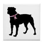 Rottweiler Breast Cancer Support Tile Coaster
