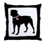 Rottweiler Breast Cancer Support Throw Pillow