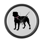 Rottweiler Breast Cancer Support Large Wall Clock