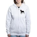 Rottweiler Breast Cancer Support Women's Zip Hoodi