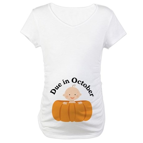 Pumpkin Baby Due In October Maternity T-Shirt