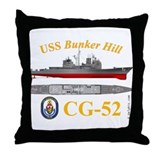 USS Bunker Hill (CG-52) Throw Pillow