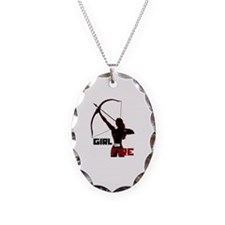 Katniss Girl on Fire Necklace Oval Charm