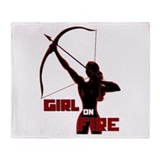 Katniss Girl on Fire Throw Blanket