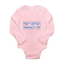 Shalom Y'All English Hebrew Long Sleeve Infant Bod