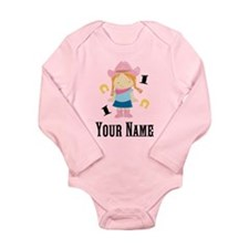 Personalized 1st Birthday Cowgirl Long Sleeve Infa