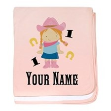 Personalized 1st Birthday Cowgirl baby blanket