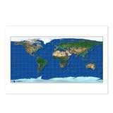 Wold Map Equidistant: Postcards (Package of 8)