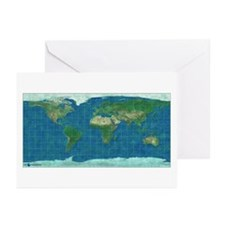Wold Map Equidistant 2: Greeting Cards (Pk of 10)