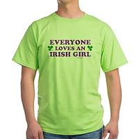 Everyone Loves An Irish Girl Pink Green T-Shirt