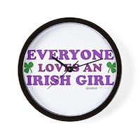 Everyone Loves An Irish Girl Pink Wall Clock