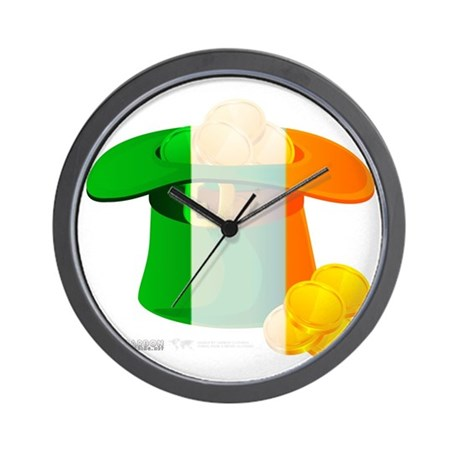 Irish Hat Flag Colors Wall Clock
