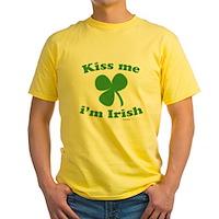Kiss Me Im Irish Clover Yellow T-Shirt