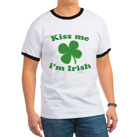 Kiss Me Im Irish Lucky Clover Ringer T