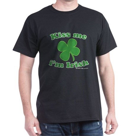 Kiss Me Im Irish Lucky Clover Dark T-Shirt