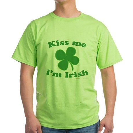 Kiss Me Im Irish Lucky Clover Green T-Shirt