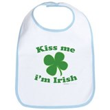 Kiss Me Im Irish Lucky Clover Bib