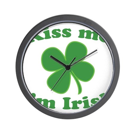 Kiss Me Im Irish Lucky Clover Wall Clock