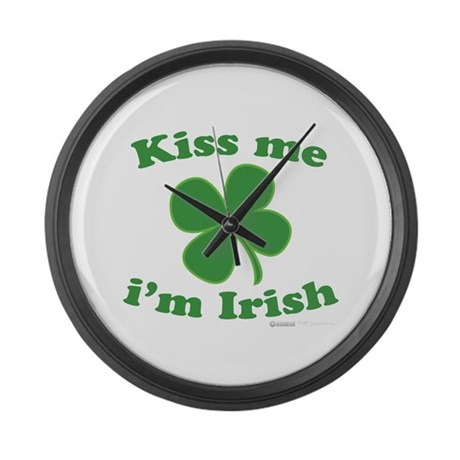 Kiss Me Im Irish Lucky Clover Large Wall Clock