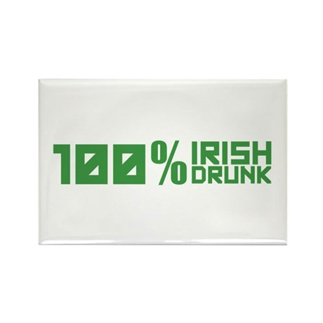 100% Irish 100% Drunk Rectangle Magnet