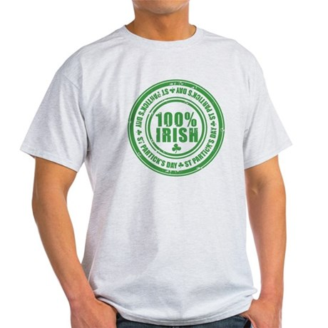 St Patrick's Day 100% Irish Stamp Light T-Shirt
