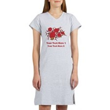 Red Roses and Red Text. Women's Nightshirt