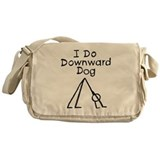 Black Downward Dog Messenger Bag