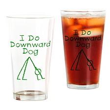 Green Downward Dog Drinking Glass
