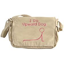 Pink Upward Dog Messenger Bag