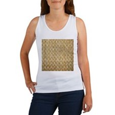 Neutral Woven Raffia Design Women's Tank Top