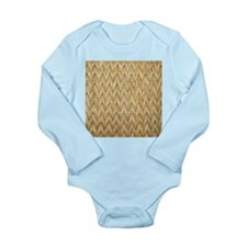 Neutral Woven Raffia Design Long Sleeve Infant Bod