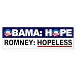 Obama Hope Romney Hopeless bumper sticker