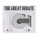 The Great Toilet Paper Debate Throw Blanket