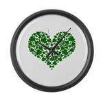 Shamrock Heart Large Wall Clock