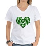 Shamrock Heart Women's V-Neck T-Shirt