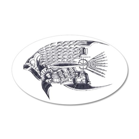 Industrial fish (silver) 38.5 x 24.5 Oval Wall Pee